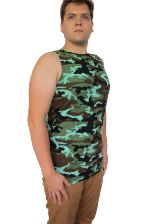 Майка мужская КМФ флора (великан) военная зеленая осень оптом
